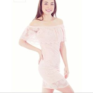 Mesmer lace off shoulder body on minidress